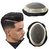 Haarteil für Herren, strapazierfähiges Toupet, natürlicher Haaransatz, echtes Herrenhaar, French Lace Front & Mono Center Haarteile #1B30