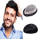 Lordhair Echthaar Toupet für Männer, Mono Lace Haarsystem mit PU Haarteil Schwarz Ersatzsystem
