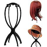 RuiSi 2 Stück kurze Perückenständer für Perücken, 36,7 cm, tragbarer, faltbarer Perücken-Trockner, langlebiges Perücken-Display, Reise-Perückenständer, schwarz