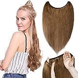 TESS Haarteile Echthaar Extensions günstig 1 Tresse Remy Haarverlängerung mit Draht Haarverdichtung Glatt 22'(55cm)-75g(#6 Mittelbraun)