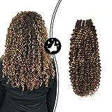 Moresoo Extensions Echthaar Clip in Schokobraun #4 mit Honigblond #27 Clip in Echthaar Extensions Kinky Curly 100% Brasilianischen Human Hair 16 Zoll 7 pcs 100g