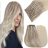 Easyouth Clip in Haarteil Echthaar für Frauen Remy Clip Haar Farbe Aschblond Mix Mittelblond und Platinblond 16 Zoll 7Pcs 80g Remy Human Clip auf Haar