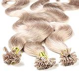 hair2heart 50 x 1g Echthaar Bonding Extensions, gewellt - 50cm - #20 aschblond