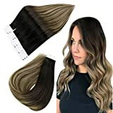 Easyouth Klebestreifen Doppelseitig 45cm Tape in Kleber Extensions 40g pro Packung Off Black Fading zu Chestnut Brown mit Honey Blonde mischen Echthaar Tape Extensions