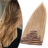 40cm Clip in Extensions Echthaar Haarverlängerung Haarteil 8 teiliges SET Remy Haar Honigblond#27 90 g