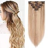Clip in Extensions Echthaar Haarverlängerung Haarteil Doppelt 8 Teile hitzebeständig glatt Honigblond/Hellblond #18p613 20'(50cm)-150g