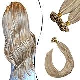 Ugeat Haarverlangerung Echthaar Extensions Utip 45cm Hot Fusion Brasilianische Keratin Bondings Aschblond Highlight Gebleichtes Blond #P18/613 (1G/S, 50G/50S)