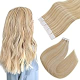 """Easyouth Tape in Skin Weft Extension 16"""" 80g 40 Stück pro Packung Farbe Honigblond Mix Gelbblond Human Hair Tape in Extensions"""
