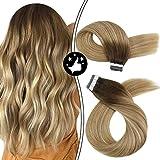 Moresoo Tape in Extensions Echthaar Balayage 24zoll/60cm Tape Extensions Blond Kleber Haarverlängerung Glatt 20pcs 50g Seamless Hair Extension Skin Weft Remy Echthaar Braun mit Blond 3/12/613