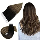 Easyouth Tape in Extensions Echthaar Remy Human Haar 40g Farbe Off Black Mix Medium Brown and Honey Blonde Skin Weft Tape Extensions