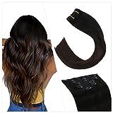 Ugeat Haarverlängerung Echthaar Clip Extensions Tressen 50cm 7Stuck Clip in Extensions Echthaar Doppelt Tressen Schwarz Balayage Dunkelbraun #1B/4 Extensions Clip Hair Natural 100g