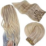 Easyouth Clip in Haarteil Echthaar für Frauen Remy Clip Extension Farbe Aschblond Mix Mittelblond und Platinblond 16 Zoll 7Pcs 80g Remy Human Clip auf Haar