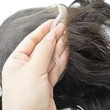 Hairnotion Toupet Echthaar Thick Hair Französisch Spitze Toupet Perücke für Männer 8x10 Zoll #1b10