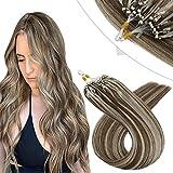 YoungSee Extensions Microring Echthaar 1g Blond Strähnen Micro Loop Extensions Echthaar Remy Cold Fusion Micro Beads Haarverlangerung Glatt Dickes Haare Hellbraun mit Goldblond 50g 60 cm