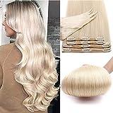 Echthaar Extensions Clip 8 Teile 18 Clips für komplette Haare Remy Human Hair Glatt Dick Haarverlängerung Doppelt Tressen 60cm-170 Gramm 70# Weißlich
