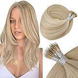 Hetto Nanoring Haarverlängerungen Blond, 1g/s Echthaar Extensions Nano Loop Haare Blond Prebonded Remy Nano Rings Erweiterungen #18/613 Dunkle Aschblondine Strähnchen 18 Zoll 50g