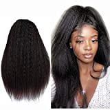 Echthaar PerüCke Glatt Schwarz Human Hair Wig Yaki PerüCke Echthaar Schwarz Lang Wigs For Black Women Human Hair Kinky Straight Lace Wig Human Hair Swiss Lace Wig 24 Zoll 13x4 Lace Wig