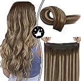 Moresoo Balayage Chocolate Braun Highlighted mit Karamell Blonde Remy Flip on Hair Extensions Human Hair Extensions Brasilianere Echthaar Extensions 16zoll/40cm 80g