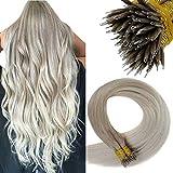 LaaVoo Nano Beads Haare Extensions Pre Bonded Stick Tip Hair Extensions Echthaar Microring Bonding Aschblond Balayage Platinblond 50Gramm/50Strähne 16 Zoll/40cm