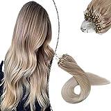Ugeat Ombre Echthaar Extensions Microring Loop 1G 100S 24' Naturliche Haarverlangerung mit Microrings Echte Haare Aschblond zu Platinblond #T18/60