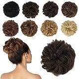 FESHFEN 100% Echthaar Haarteil Haargummi, lockige haarteile Haarknoten Haargummi Hochsteckfrisuren unordentlich dutt Haarteil Echthaar Haargummis für Damen Mädchen, Braun