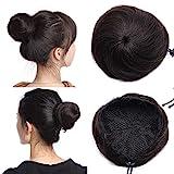 TESS Haarteile Echthaar Dutt Haarteil Haargummi für Haarknoten Hochsteckfrisuren günstig für Frauen #1B Naturschwarz 30g Glatt