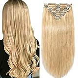 Clip in Extensions Set 100% Remy Echthaar 8 Teilig Haarverlängerung dick Dopplet Tressen Clip-In Hair Extension (30cm-115g,#24 Natürlich Blond)