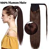 Ponytail Extension Clip in Echthaar Pferdeschwanz Haarteil Haarverlängerung Zopf Hair Piece Mittelbraun#4 20'(50cm)-95g