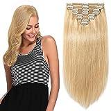 Clip in Extensions Echthaar Remy Haarverlängerung für komplette Haare 8 Tressen Doppelt Dicke 45cm-140g(#24 Mittelblond)