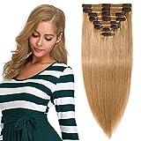 Clip in Extensions Echthaar Remy Haarverlängerung für komplette Haare 8 Tressen Doppelt Dicke 30cm-110g(#27 Dunkelblond)