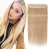 Clip in Extensions Echthaar Dick Haarteile Echthaar 1 Piece 5 Clips 7A Remy Hair Weich Natürlich Haarverlängerung 40cm-80g 24# Blond