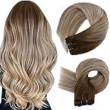 Easyouth Remy Sew in Echthaar Weft Tressen 20 Zoll Farbe Daker Brown Mix Aschbraun und Mittelblond 100g Human Hair Bundles Haar Tressen Echthaar