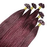 hair2heart Premium 200 x 1 g REMY Echthaar Bonding Extensions, glatt - 60cm - #99j burgundy
