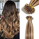 TESS Extensions Echthaar Bondings 1g 100% Remy Haarverlängerung 50 Strähnen Keratin Human Hair 50g/55cm(#4/27 Schokobraun/Honigblond)