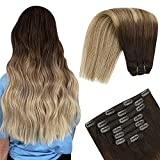 YoungSee Echthaar Extensions Clip Ombre Remy Balayage Clip in Hair Extensions Voller Kopf Doppelt Tressen Clip Extensions Echthaar Dunkelstes Braun bis Mittelbraun mit Blond 7pcs/100g 40cm