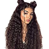 Water Wave Lace Wig Human Hair 13x4 Front Lace Unverarbeitet Jungfrau Remy Echte Haare Perücke Lace Front Wig Naturschwarz mit Baby Hair Lange 28 zoll(71.12cm) NIUDINNG Human Hair