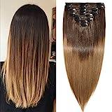 TESS Clip in Extensions Echthaar Ombre Haarteile guenstig Haarverlängerung Doppelt Tressen für komplette Haarextension 8 Teile 18 Clips Glatt 7A Dick Hair (45cm-140g, 2T6 Dunkelbraun/Mittelbraun)