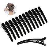 Ealicere 12 Stück schwarz Haarspange Haar Klammer Combi-Clip Karte Hairclips Abteilklammern krokodil haarklammer aus Kunststoff (12cm)
