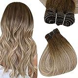 Easyouth Human Hair Bundles Echthaar Tressen 20 Zoll Farbe Daker Brown Mix Aschbraun und Mittelblond 100g Human Hair Bundles Haartressen Echthaar