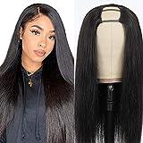 Afro Echthaar Perücke Schwarz Frauen damen Lang Perücke glatt hair U Part Half Human Hair Wigs for Black Woman Real Virgin Human Straight Wigs Haarverlängerung Echthaar 22inch/55cm