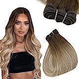 Easyouth Human Hair Bundles Echthaar Tressen 20zoll Farbe Daker Brown Mix Aschbraun und Mittelblond 100g Human Hair Bundles Haartressen Echthaar