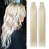 TESS Tape Extensions Echthaar Blond Klebeband Haarverlängerung Remy Tape in Human Hair günstig 40 Tressen x 4 cm 100g-45cm(#60 Weißblond)