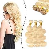 Ugeat Echthaar Extensions Tressen Brasilianische Weaving zum Einnahen 26Zoll*3 Kompletten Kopf Haarverlangerung 300Gramm Total (Gebleichtes Blond, Gewellt)