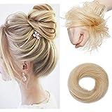 Haarteile Echthaar Haargummi für Haarknoten Dutt Echthaar 100% Remy Haar Glatt mit Haaren Hochsteckfrisuren 17 Gramm 613# Bleichblond