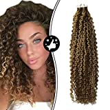 Moresoo 24 Zoll Human Hair Tape on Extensions Echthaar 60cm Kinky Curly Real Human Hair Tape in Extensions #4 Dark Brown Mixed with #27 Seamless Weft Hair Extensions 20pcs/50g