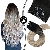 Moresoo 22 Zoll/55cm Ombre Farben Echthaar Clip In Extensions Für Komplette Kopf Schwarz #1B bis Aschblond #18 bis Blond #60 Haarverlängerung Balayage Haarfarbe 7 Tressen 120g