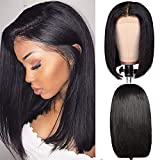 Short Bob Human Hair Wig 150% Density Straight Lace Front Wig Echthaar perücken für schwarze Frauen 4x4 Lace Closure Bob Wig Brazilian Virgin Hair Wig Pre Plucked Hairline Natural Color 14'(35.6cm)