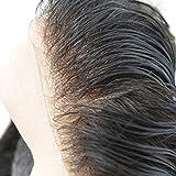Hairnotion Toupet Echthaar Alle V-Loop super dünne Haut Toupet für Herren 8x10 Zoll Perücken Echthaar Männer Dunkelbraun 2#