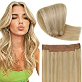 Hetto Remy Haar Extensions with Invisible Wire Blond Halo on Extensions Echthaar Remy Glatt Halo Haarverlangerung Dunkelgoldene Highlights Bleichblond #14/613 14 Zoll 50g