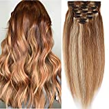 Clip in Extensions Echthaar Haarverlängerung Haarteil Doppelt 8 Teile hitzebeständig glatt Weissbraun/Hellblond #12p613 12'(30cm)-115g